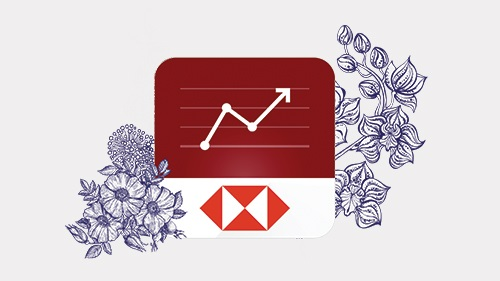 Easy Invest mobile app logo with flowers background; image used for HSBC Easy Invest