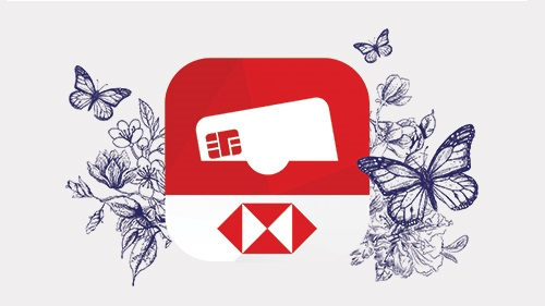 Reward+app logo with butterflies background; image used for HSBC Reward Mobile App