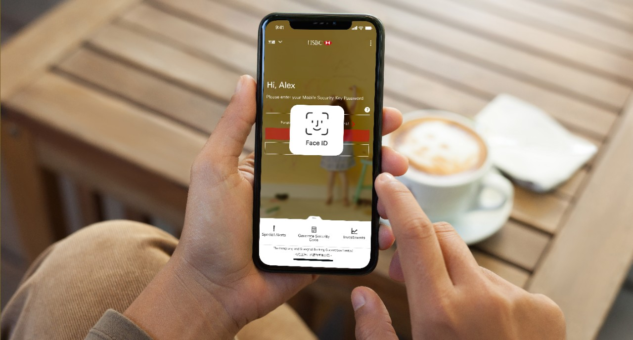 User activating Face ID on the HSBC HK Mobile Banking app