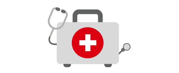 A medical box picture which is symbolizing no medical examinations needed for HSBC Term Protector.