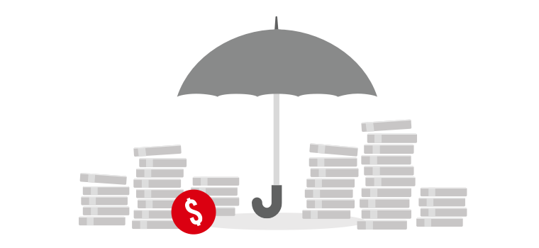 An umbrella is covering up the coins picture which symbolizing HSBC Term protector provides financial security.