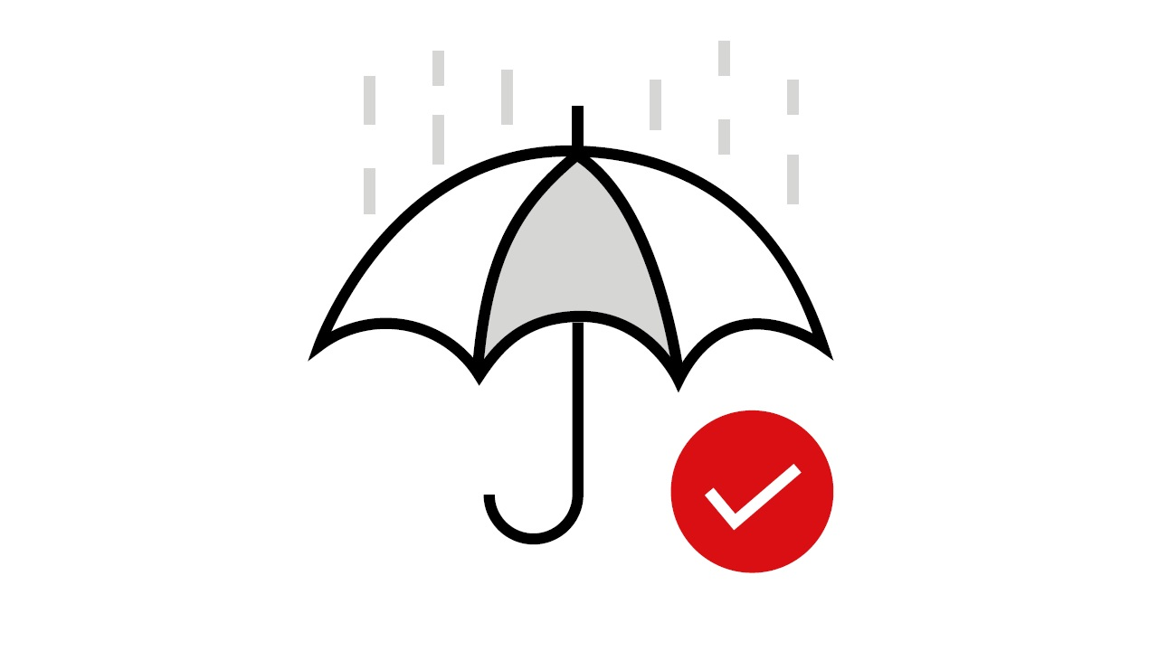 An umbrella which symbolizing no sub-limits of annual medical benefit up to HKD5 milion for HSBC FirstCare Plus Medical Insurance.