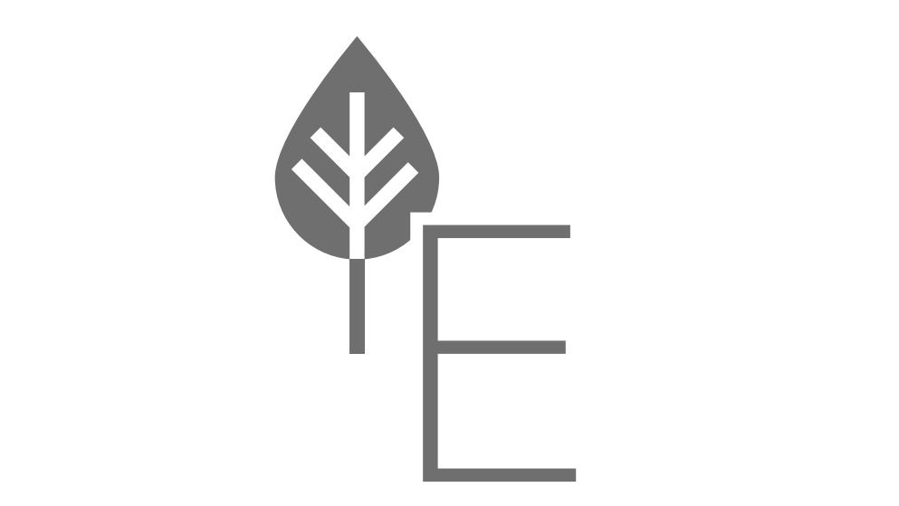 English letter E with a leaf icon