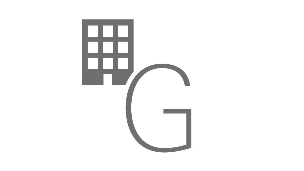 English letter G with a building icon