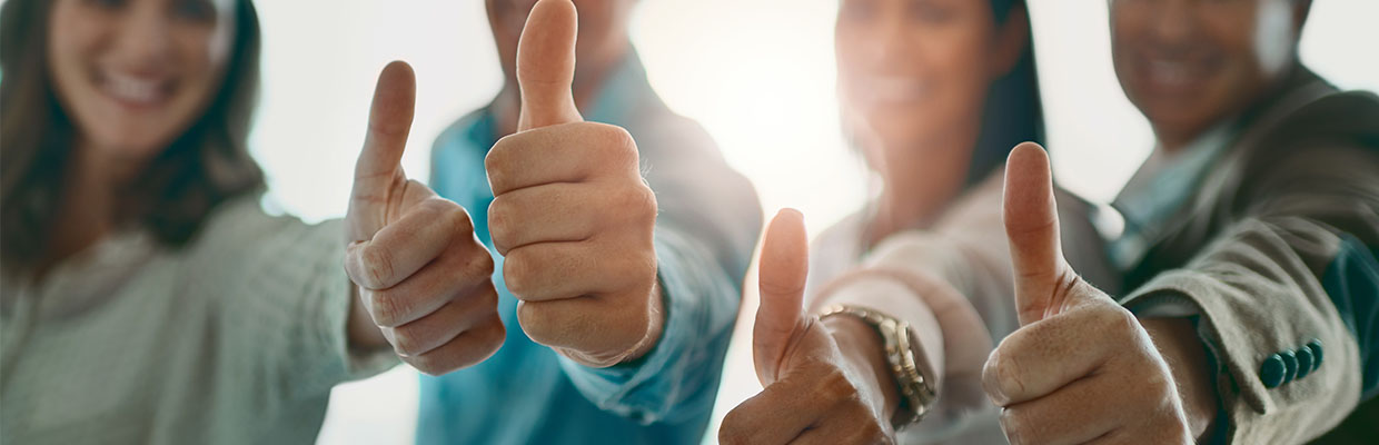 "Four people feel good and thumbs up together, image used for ""Be your own boss "" article"