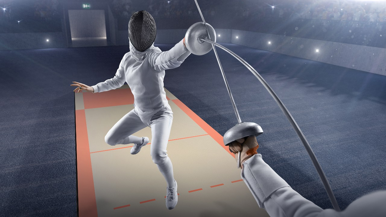 Female fencer fight on big professional stage; image used for navigation of common online threats pages