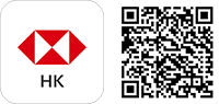 HSBC apps and QR code icon; image used for HSBC Hong Kong mobile banking and download HSBC Mobile Banking App.