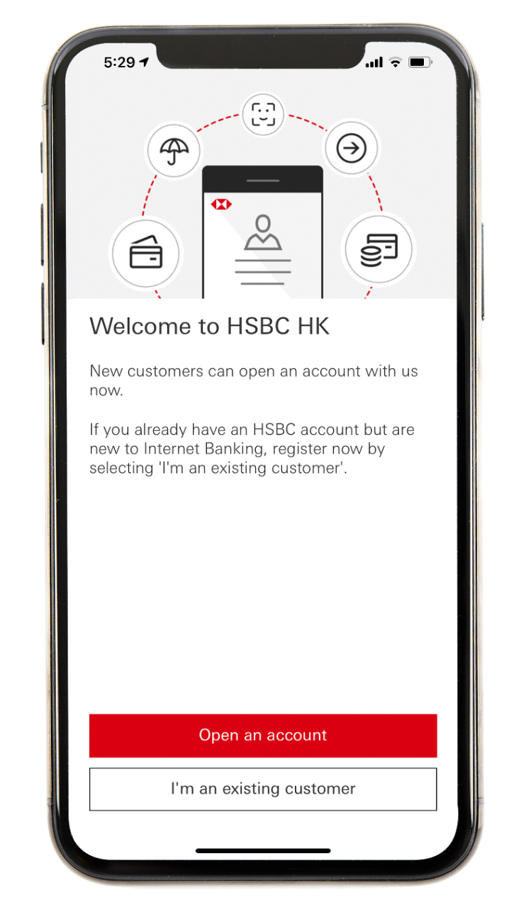 Mobile app screen step 2; image used for HSBC Hong Kong Mobile Banking App.